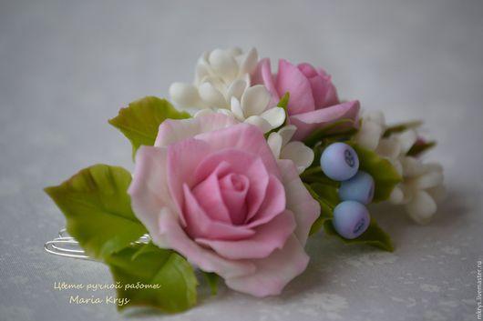 Заколки ручной работы. Ярмарка Мастеров - ручная работа. Купить Повтор гребешка с розочкой, ягодками и черники. Handmade. Бледно-розовый