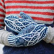 Аксессуары ручной работы. Ярмарка Мастеров - ручная работа Теплые вязаные шерстяные зимние  варежки Снежинки. Handmade.