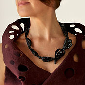 """Украшения handmade. Livemaster - original item Necklace """"Foliage"""",black porcelain, silver. Handmade."""