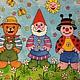 Мультяшный сюжет: гномик, мишка, божья коровка - салфетка для декупажа, детский сюжет Декупажная радость