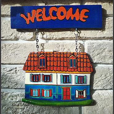 """Для дома и интерьера ручной работы. Ярмарка Мастеров - ручная работа Подвески: Керамика """"Добро пожаловать"""". Handmade."""