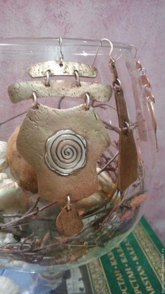 """Серьги ручной работы. Ярмарка Мастеров - ручная работа. Купить Серьги из бронзы """"Солярис. День"""". Handmade. Комбинированный, серьги длинные"""