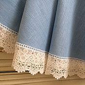 Для дома и интерьера handmade. Livemaster - original item Linen tablecloth Blue dream D. .150cm. Handmade.