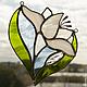 Цветок Белой лилии. Витраж тиффани. Цветное стекло.