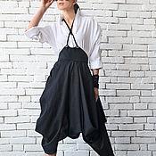 Одежда ручной работы. Ярмарка Мастеров - ручная работа Черная юбка из льна, юбка длинная. Handmade.
