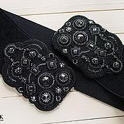 Аксессуары ручной работы. Ярмарка Мастеров - ручная работа Широкий пояс резинка вышитый черный серебристый пояс на платье. Handmade.