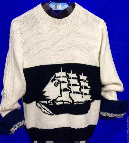 """Одежда для мальчиков, ручной работы. Ярмарка Мастеров - ручная работа. Купить свитер для мальчика """"Капитан"""" (морской стиль) на 6-7 лет. Handmade."""