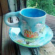 """Посуда ручной работы. Ярмарка Мастеров - ручная работа Чайная пара """" Домики"""". Handmade."""