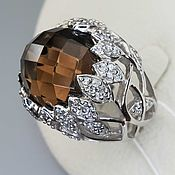 Украшения handmade. Livemaster - original item Silver ring with 15 mm rauchtopaz and cubic zirconia. Handmade.