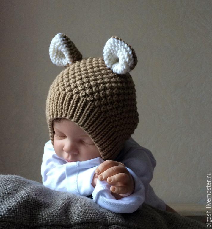 с ушками малышей спицами для шапки вязанные