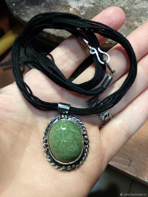 Silver pendant with jadeite or nephrite jade, Pendants, Krasnoyarsk,  Фото №1