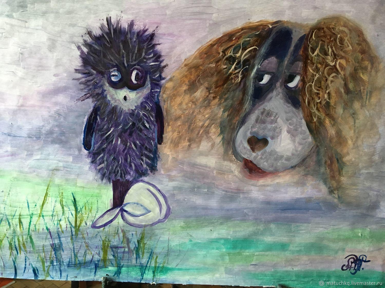 Картина маслом-Ёжик и собака, Фотокартины, Москва,  Фото №1