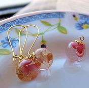 """Комплект """"Розовый рай"""" ювелирная смола подарок девушке"""
