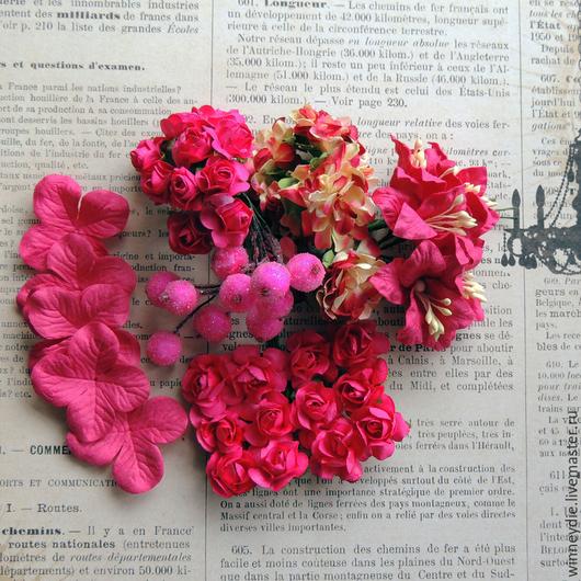 """Открытки и скрапбукинг ручной работы. Ярмарка Мастеров - ручная работа. Купить Набор цветов """"Малиновый"""". Handmade. Фуксия, малиновый, цветочки"""