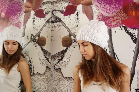 Шапки ручной работы. Ярмарка Мастеров - ручная работа. Купить шапка ручной вязки  белая. Handmade. Белая шапка