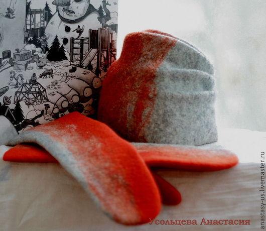 Комплекты аксессуаров ручной работы. Ярмарка Мастеров - ручная работа. Купить Шапка и варежки. Handmade. Ярко-красный, варежки валяные