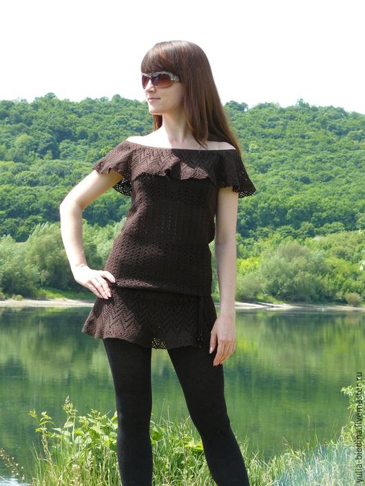 Dresses handmade. Livemaster - handmade. Buy Dress-tunic 'CHOCOLATE'.Dresses, tunic crochet, summer fashion, summer vacation
