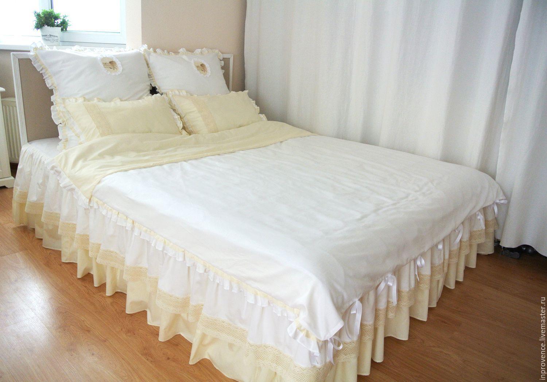 """Купить Комплект постельного белья """"Винтаж"""" бело-сливочный - постельное белье, постельное ручной работы"""