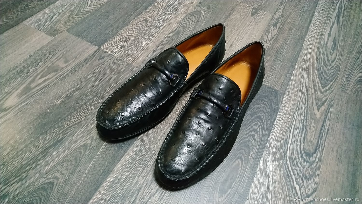 Men's ostrich leather moccasins, in black, in stock!, Moccasins, Tosno,  Фото №1