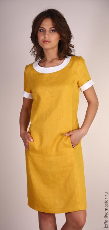 Платья ручной работы. Ярмарка Мастеров - ручная работа. Купить Платье из льна арт.5331. Handmade. Синий, дизайнерское платье