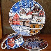 Посуда ручной работы. Ярмарка Мастеров - ручная работа Рождественский подарок. Чайный набор - чашка, блюдце, тарелка. Handmade.