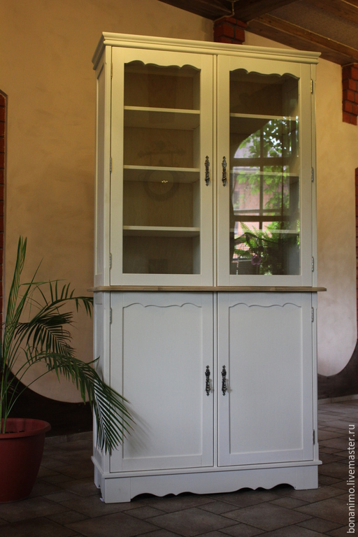 """Мебель ручной работы. Ярмарка Мастеров - ручная работа. Купить книжный шкаф в стиле """"Прованс"""". Handmade. Белый, массив сосны"""