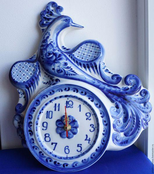 """Часы для дома ручной работы. Ярмарка Мастеров - ручная работа. Купить Часы """"Птица Дивная"""", гжель, авторская работа. Handmade."""