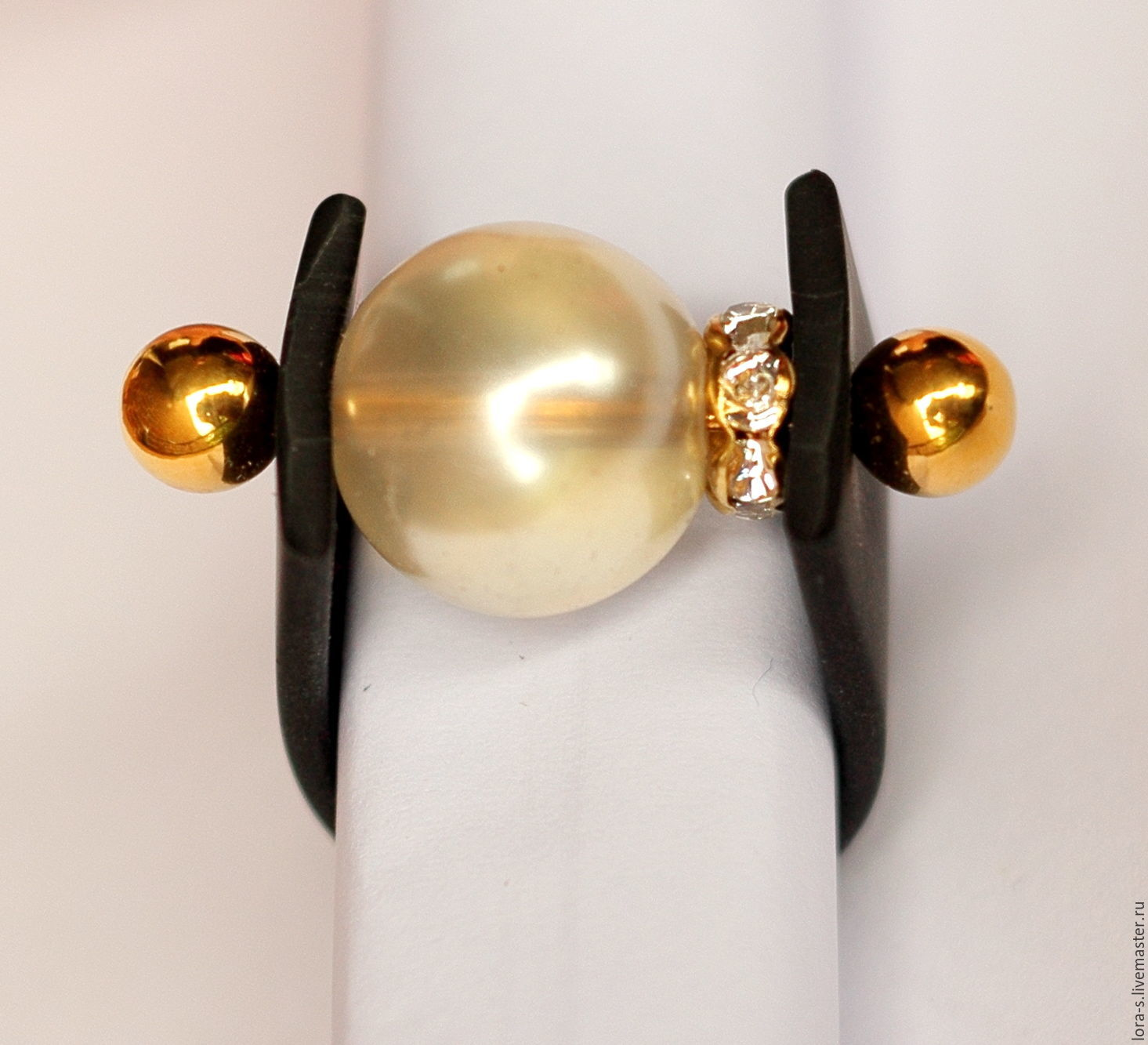 'Linda' rubber ring with a large pearl ball, Rings, Dusseldorf,  Фото №1