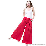 Одежда handmade. Livemaster - original item Red Palazzo pants made of natural linen. Handmade.