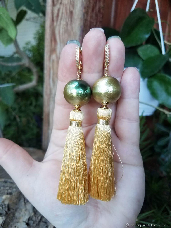 Earrings BRUSH SILK-GOLD, Tassel earrings, Ashkelon,  Фото №1