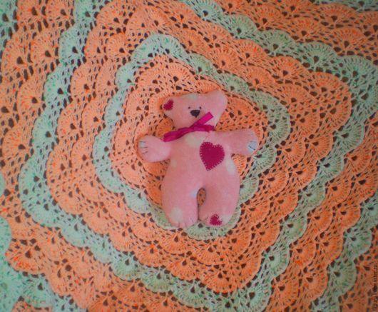 Вязаный плед для новорождённых из акриловой детской пряжи, в коляску или кроватку.