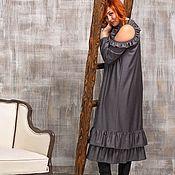 Платья ручной работы. Ярмарка Мастеров - ручная работа Серое Платье в пол с оборками. Handmade.