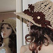 Аксессуары handmade. Livemaster - original item Hat-a hat with a wide visor of jute. Handmade.