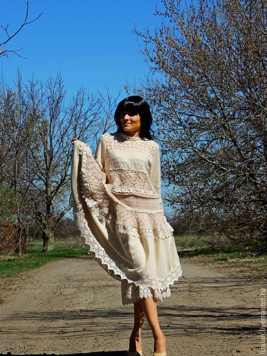Платья ручной работы. Ярмарка Мастеров - ручная работа. Купить Платье БОХО зимнее (№89). Handmade. Бежевый, Бохо платье