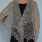 Аксессуары handmade. Livemaster - original item Shawl shawl shawl feather gray goat fluff. Handmade.