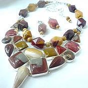 Украшения handmade. Livemaster - original item Necklace 2 strands and earrings - MUKAI, JASPER beads.. Handmade.