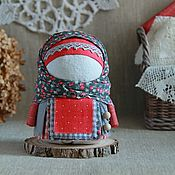 Куклы и игрушки handmade. Livemaster - original item Krupenichka Frosty berry, Russian folk doll, grey red. Handmade.
