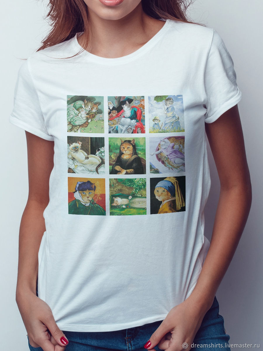Cotton T-shirt ' Cat Art', T-shirts, Moscow,  Фото №1