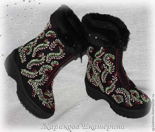 """Обувь ручной работы. Ярмарка Мастеров - ручная работа. Купить сапожки детские """"Веселая зима"""". Handmade. Сапоги, детские"""
