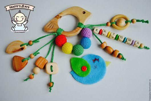 Развивающие игрушки ручной работы. Ярмарка Мастеров - ручная работа. Купить Именной грызунок-погремушка можжевеловый деревянный. Handmade. Комбинированный