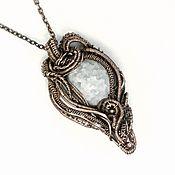 Украшения handmade. Livemaster - original item Snowball Pendant sugar quartz copper quartz pendant white crackle. Handmade.