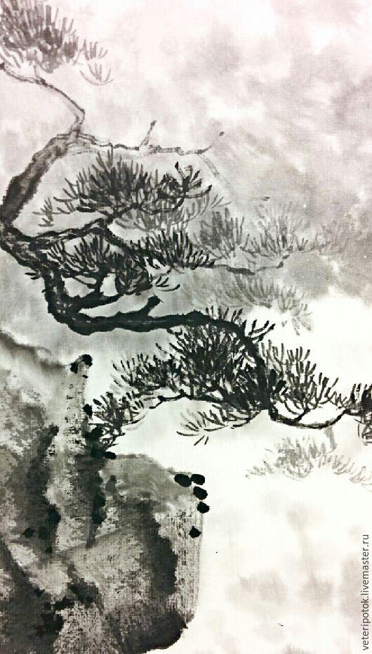 Пейзаж ручной работы. Ярмарка Мастеров - ручная работа. Купить Картина на рисовой бумаге Водопад. Handmade. Пейзаж, туман