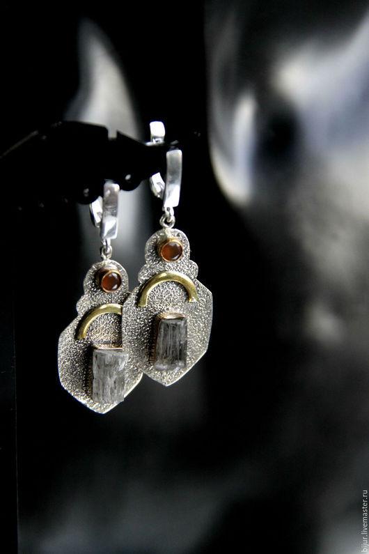 Серьги ручной работы. Ярмарка Мастеров - ручная работа. Купить Серебряные серьги с пренитом и сердолик. Handmade. Комбинированный, украшения с камнями
