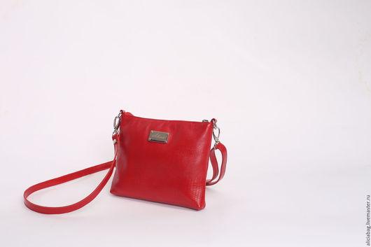 Женские сумки ручной работы. Ярмарка Мастеров - ручная работа. Купить Натуральная кожа сумочка 102 ярко-красная. Handmade.