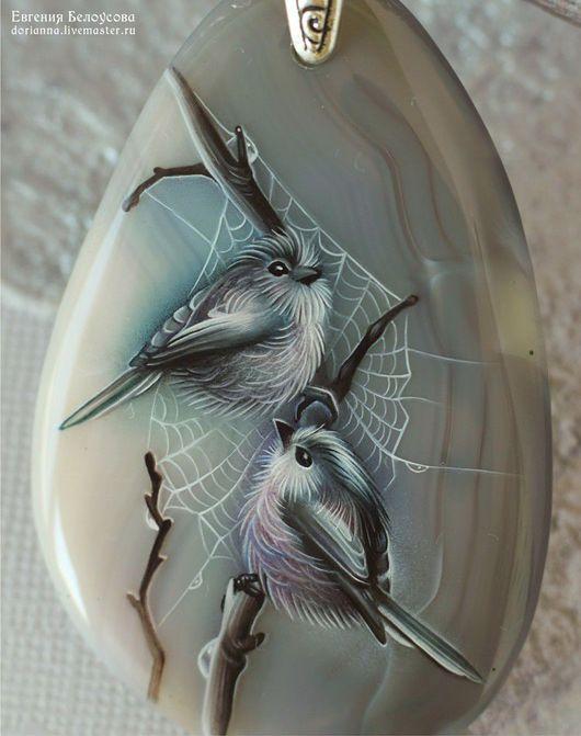 """Кулоны, подвески ручной работы. Ярмарка Мастеров - ручная работа. Купить Кулон-колье с росписью """"Птицы"""" (лаковая миниатюра). Handmade."""