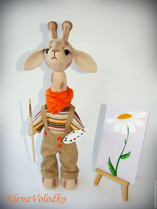 Игрушки животные, ручной работы. Ярмарка Мастеров - ручная работа. Купить Жираф художник с мольбертом. Handmade. Комбинированный, текстильная игрушка