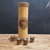 Сувениры и подарки handmade. Livemaster - original item Gift set for the Bear hunter-stacks and a case for a bottle of birch bark. Handmade.