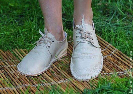 Обувь ручной работы. Ярмарка Мастеров - ручная работа. Купить Эспадрильи ботинки на шнуровке из кожи Бежевые. Handmade. Эспадрильи
