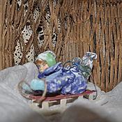Подарки к праздникам ручной работы. Ярмарка Мастеров - ручная работа Мальчик на санках. Handmade.