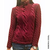 Одежда handmade. Livemaster - original item Sweater women`s Berry jam, chunky knit, braids, Merino wool. Handmade.